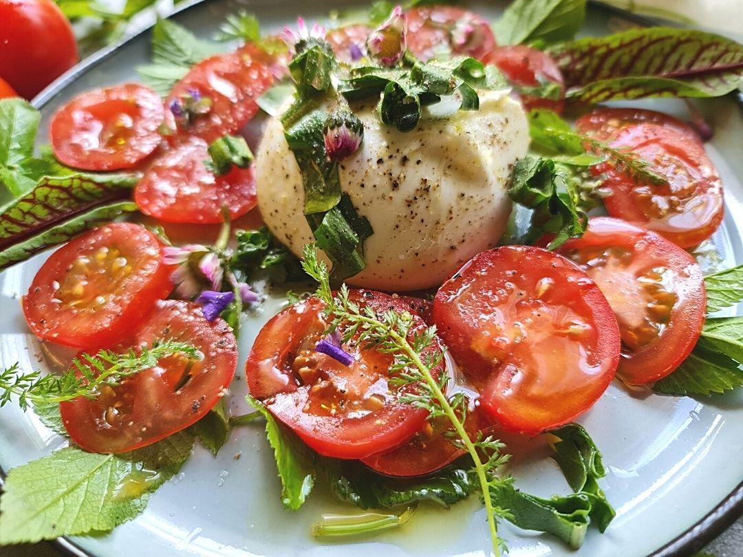 Wildkräuter Salat mit Burata und frischen Tomaten